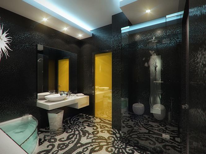Ванная комната в квартире ЖК Аксиома  Дизайнерские ванные комнаты от студии Geometrix Design 1 102
