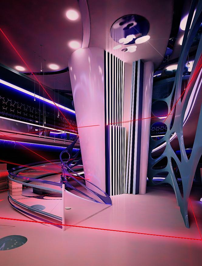 Своим проектом дизайна интерьера лазерного пейнтбольного клуба с нами поделилась Светлана Прохорова, став 33-им участником Архиконкурса 2012.    Конкурсная работа Светланы Прохоровой, Сочи, Россия                                                                                               5