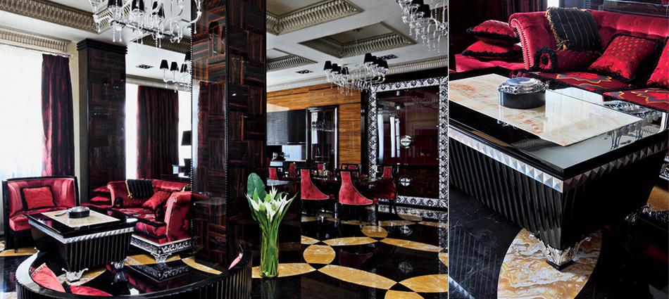 Стены гостиной, столовой и кухни, а также колонны декорированы буазери из эбенового дерева. Буазери, покрытые несколькими слоямилака до достижения зеркального блеска, были сделаны по специальному заказу на фабрике Francesco Molon.  Парадный интерьер в стиле ар-деко – Елена Белкова slider2