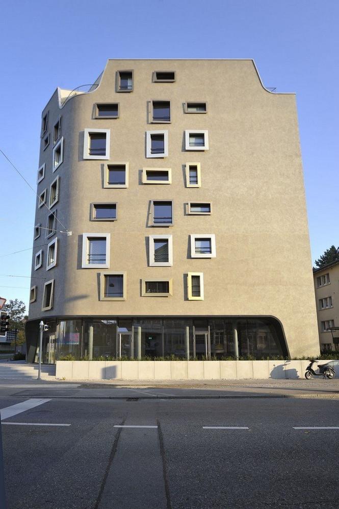 Архитектурное бюро Camenzind Evolution в плотном сотрудничестве со своим клиентом, компанией Swiss Life, создали уникальный проект жилого комплекса на 45 индивидуальных квартир. Основной задачей было разработать квартиры, которые бы обладали индивидуальностью  Жилой Дом с Нескучными Фасадами от Camenzind Evolution                                                                 Camenzind Evolution 10