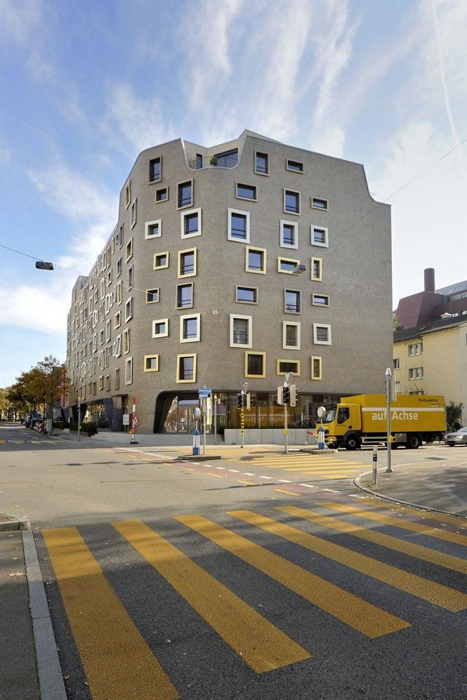 Архитектурное бюро Camenzind Evolution в плотном сотрудничестве со своим клиентом, компанией Swiss Life, создали уникальный проект жилого комплекса на 45 индивидуальных квартир. Основной задачей было разработать квартиры, которые бы обладали индивидуальностью  Жилой Дом с Нескучными Фасадами от Camenzind Evolution                                                                 Camenzind Evolution 5