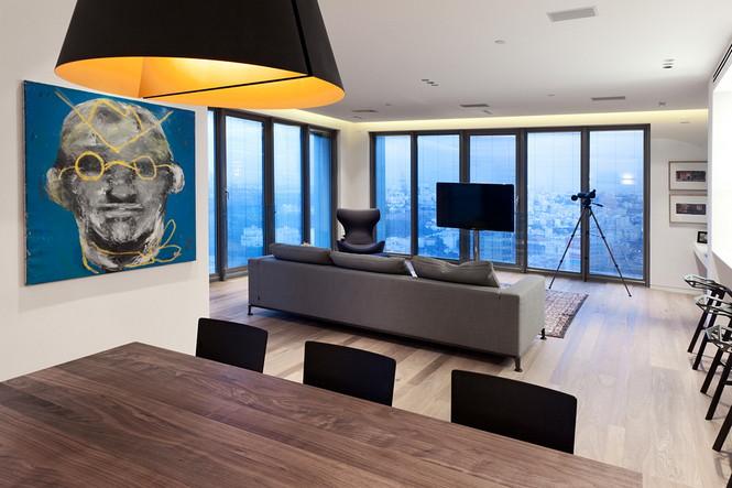 Проектное бюро GammaArc Group представило проект TLV Apartments3 Современные апартаменты площадью 150 кв метров расположены на 22 этаже одной из высоток в Тель-Авиве  Апартаменты в Тель-Авиве от GammaArc Group                                                    GammaArc Group 1