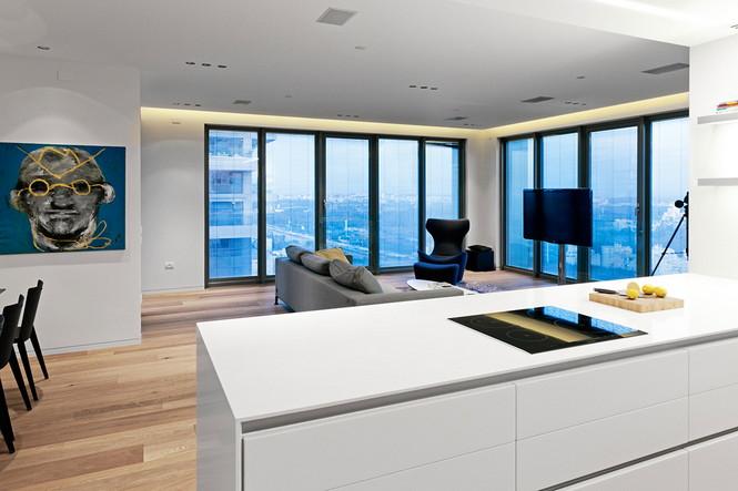 Проектное бюро GammaArc Group представило проект TLV Apartments3 Современные апартаменты площадью 150 кв метров расположены на 22 этаже одной из высоток в Тель-Авиве  Апартаменты в Тель-Авиве от GammaArc Group                                                    GammaArc Group 3