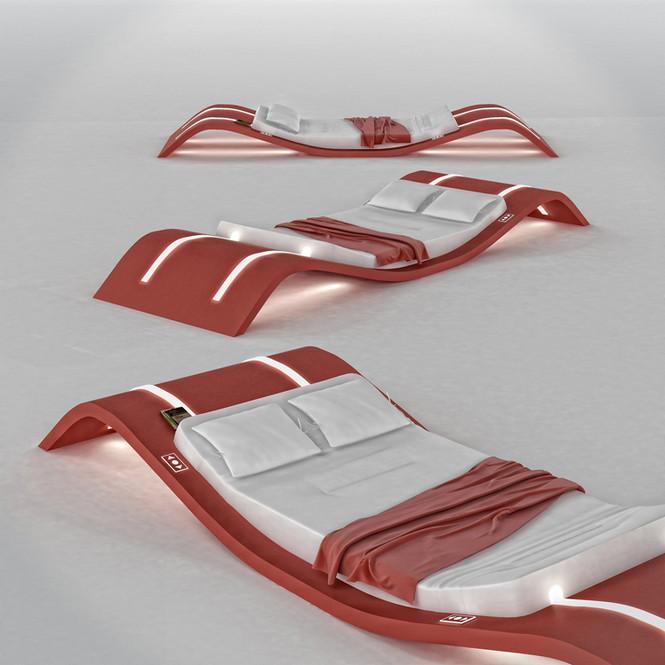 """Кровать """"On the wave"""" это идея русского дизайнера Натальи Румянцевой. Она создала кровать, похожую на гигантские волны."""