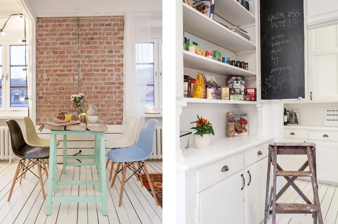 Эта квартира 1920 года расположена в городе Лоренсберг в Швеции. Декор сочетает в себе современный стиль с уже существующей в квартире мебелью. Белый цвет в контрасте с кирпичными стенами создаёт яркую и комфортную среду.