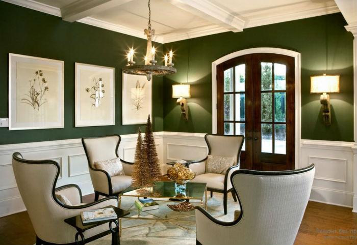 Темно-зеленые-стены-1030x682  Очарование зелёного: идеи для гостиных