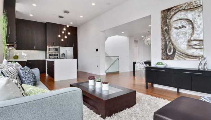 Секреты гостиной в стиле минимализм Minimalist Living Room With Unique Painting