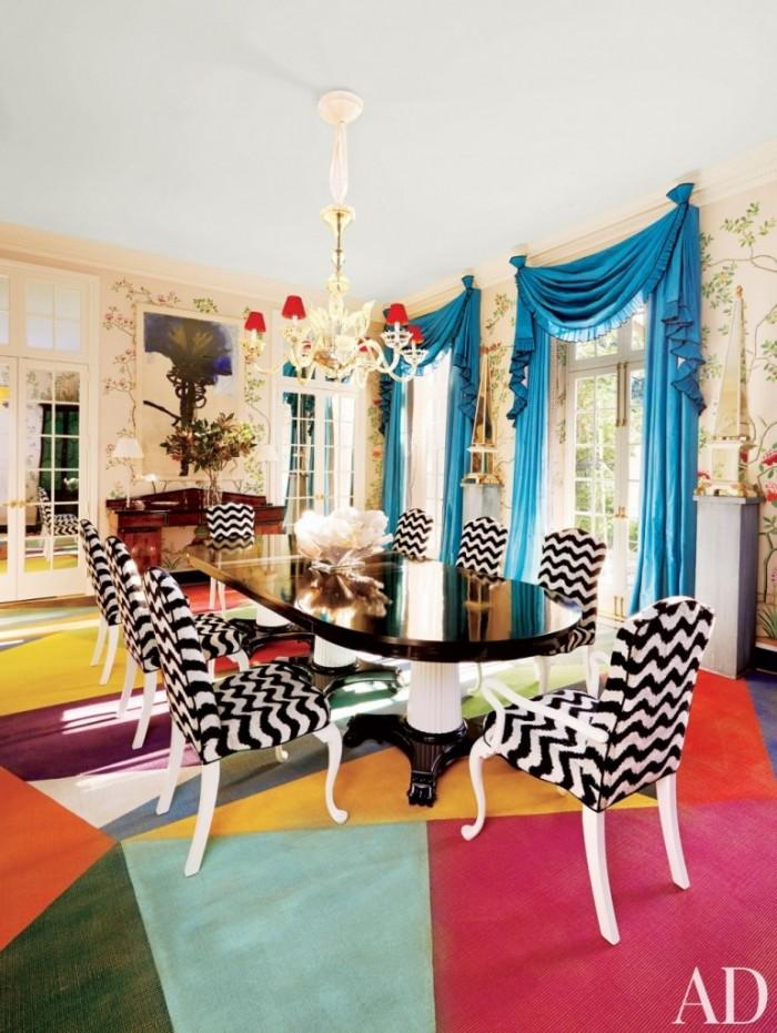 Современные стулья с принтом на ткани - Room Miles Redd Houston  15 СОВРЕМЕННЫХ СТУЛЬЕВ 124 e1458775540877