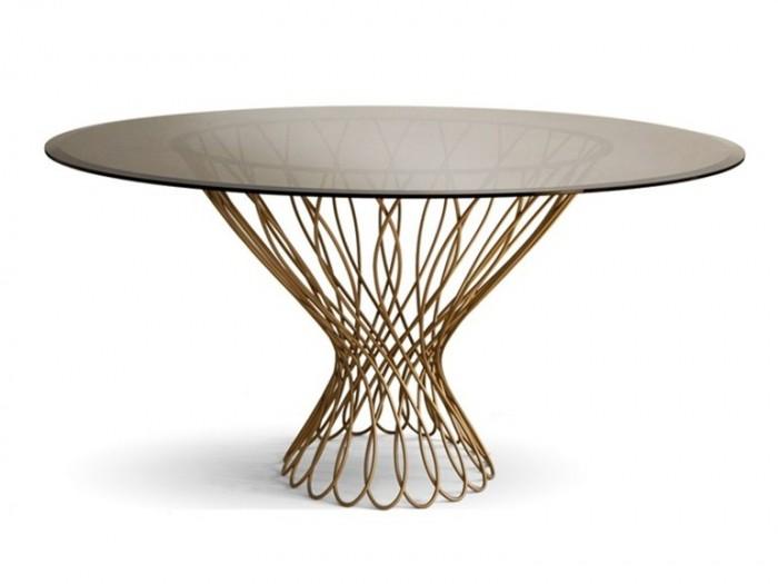 Обеденный стол Koket - Allure, экзотическое матовое золото в основе и изощренный бронзовый стеклянный верх.   ТОП 20 СОВРЕМЕННЫХ ОБЕДЕННЫХ СТОЛОВ 66 e1458836372415