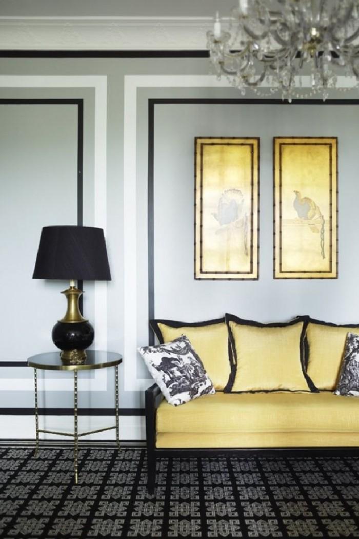 Черное и золотое в дизайне классической гостинной от Грега Натала.