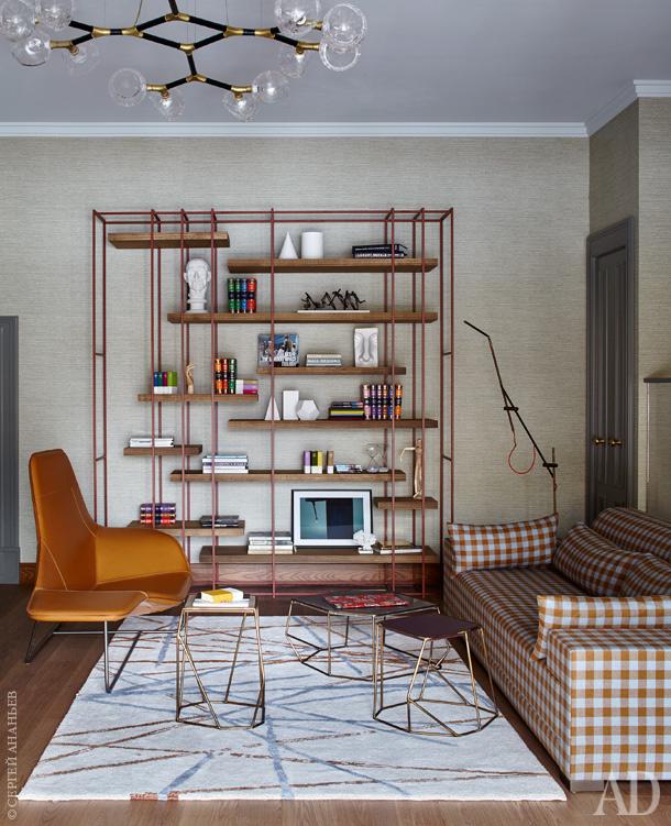 гостинная комната  Стильный проект таунхауса в Подмосковье