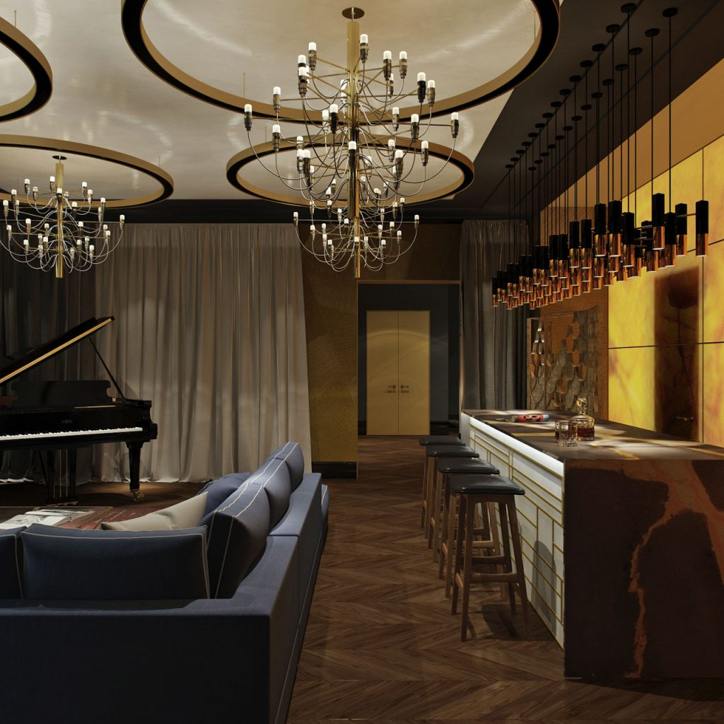 Дизайн интерьера в стиле ар-деко ар-деко Дизайн интерьера в стиле ар-деко на мансардном этаже - проект студии 3.13 Dvorynskaya 3