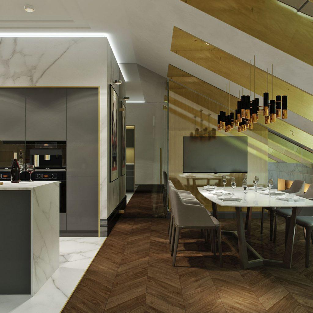 Дизайн интерьера в стиле ар-деко ар-деко Дизайн интерьера в стиле ар-деко на мансардном этаже - проект студии 3.13 Dvorynskaya 6