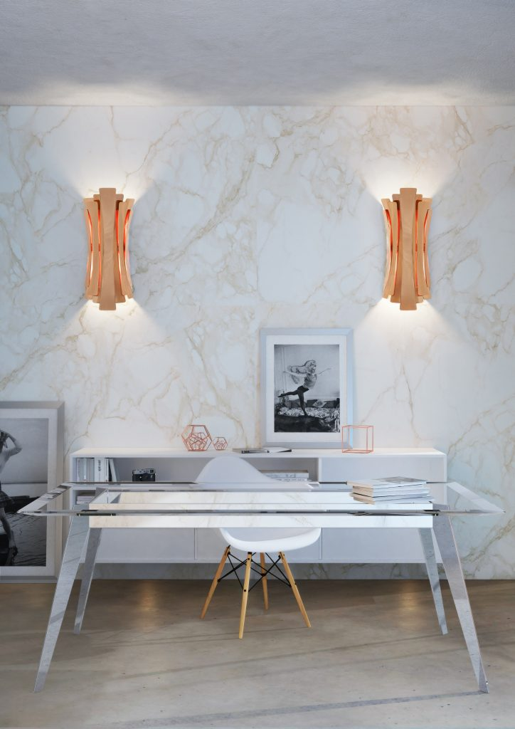 Мрамор в интерьере - 3 совета от дизайнеров Мрамор в интерьере Мрамор в интерьере - 3 совета от дизайнеров delightfull etta wall lamp ambience