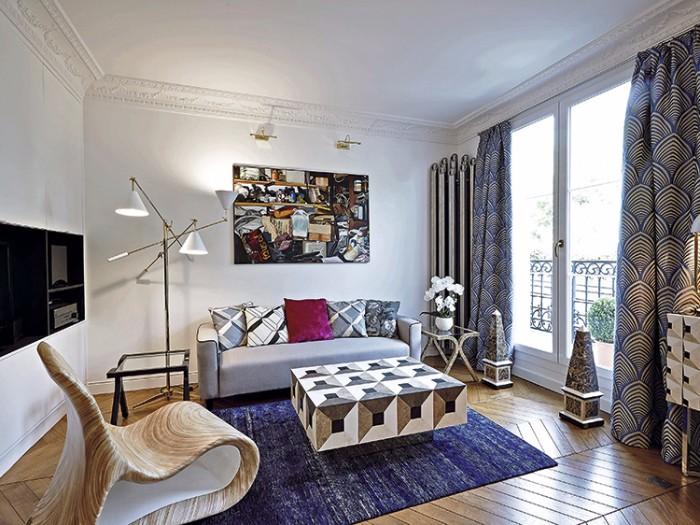 парижской квартиры 2  Оп-арт в интерьере парижской квартиры 3 3