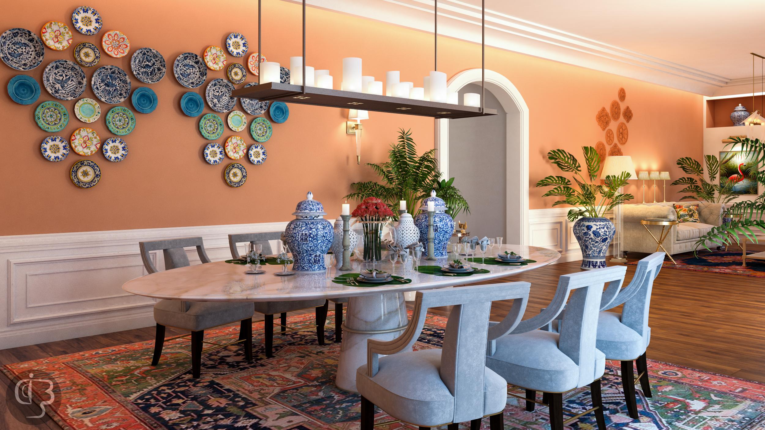 дизайн интерьера Красивый дизайн интерьера от Boshrainteriors Studio и BRABBU dining room by boshrainteriors