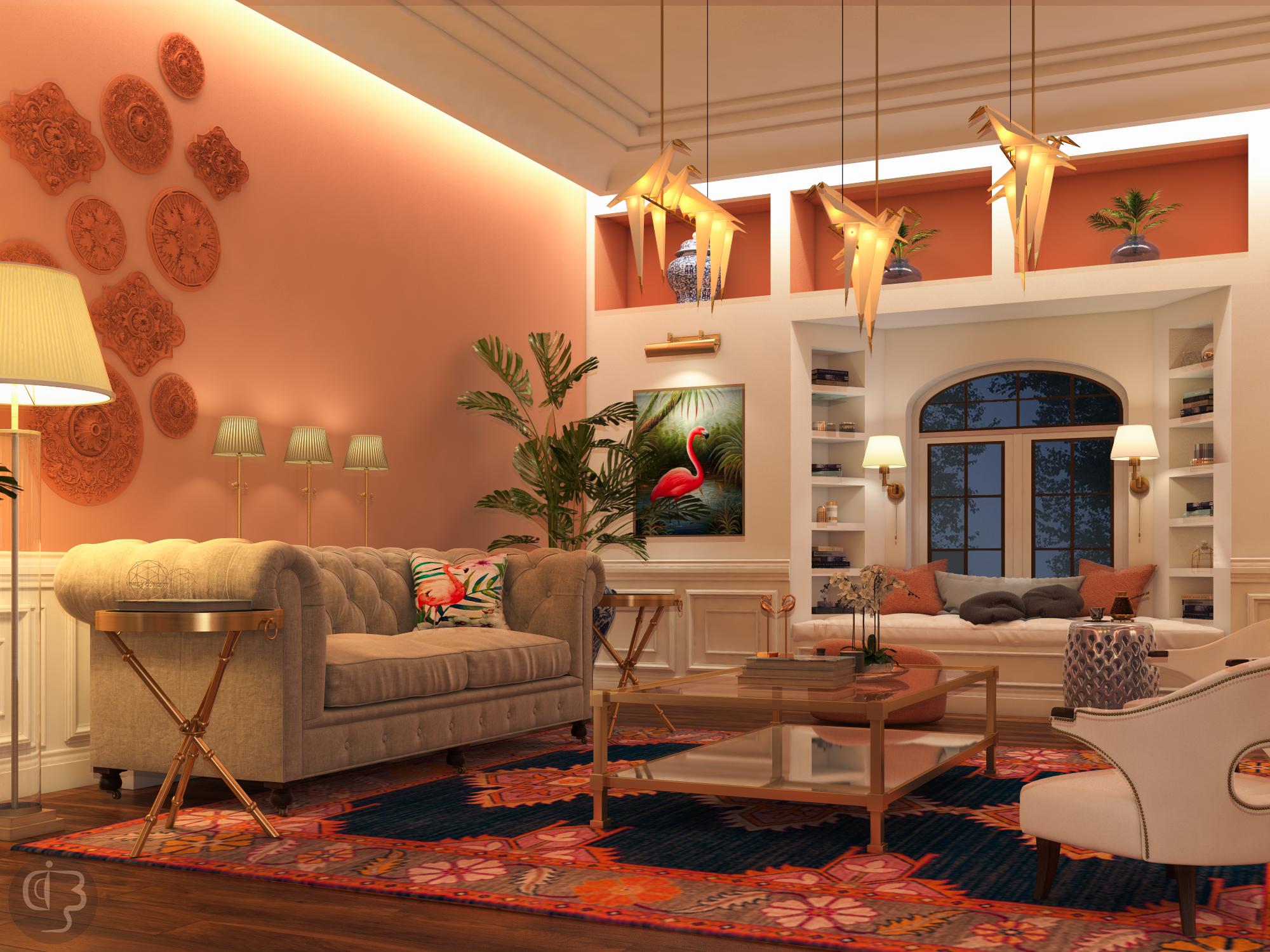дизайн интерьера Красивый дизайн интерьера от Boshrainteriors Studio и BRABBU living room by boshrainteriors 1