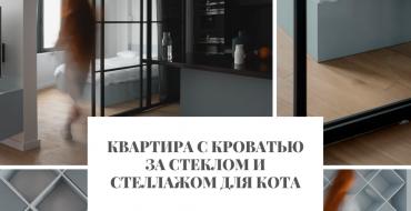 Квартира Квартира с кроватью за стеклом и стеллажом для кота                                                                                                2 370x190