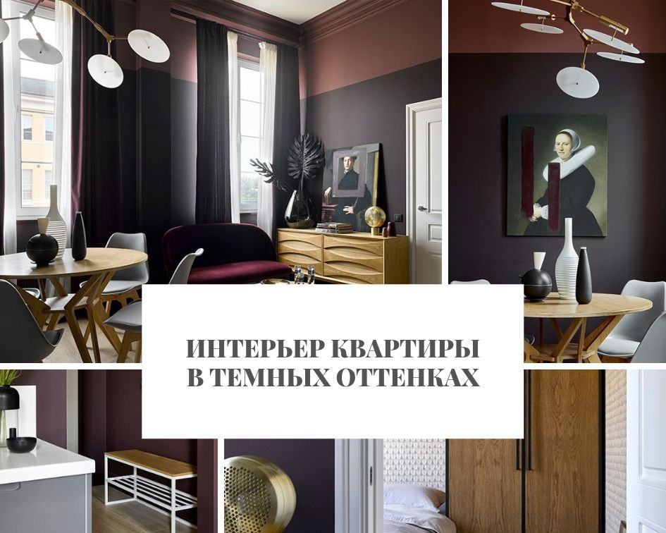 Интерьер Интерьер квартиры в темных оттенках