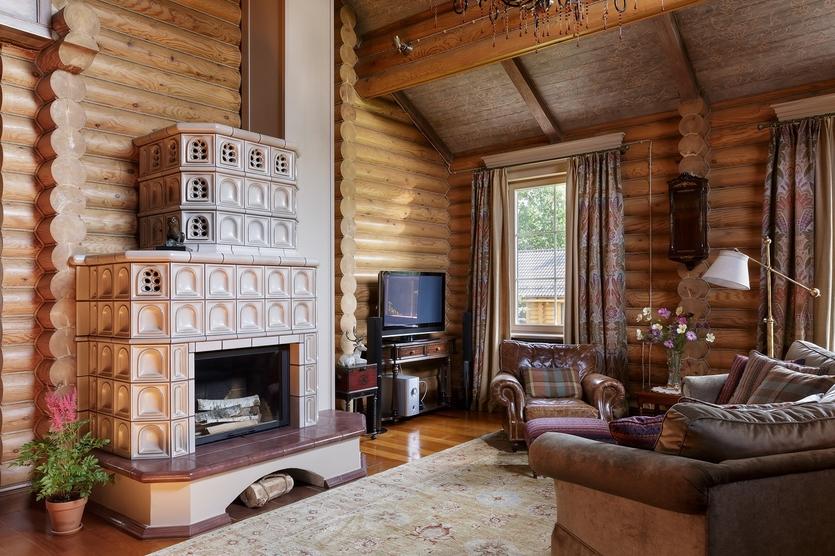 Интерьер деревянного дома в Подмосковье